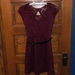 Wet Seal Dresses - Wet Seal Burgundy Lace Dress with Belt - S
